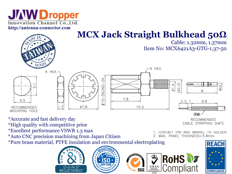 MCX Jack Female Straight Bulkhead Coaxial Connector 50 ohms for 1.32mm 1.37mm Cable