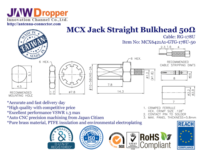 MCX Jack Female Straight Bulkhead Coaxial Connector 50 ohms for RG-178U Cable