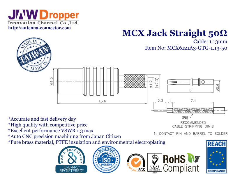 MCX Jack Female Straight Coaxial Connector 50 ohms for 1.13mm Cable