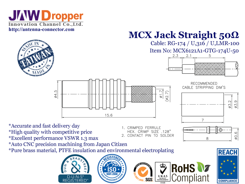 MCX Jack Female Straight Coaxial Connector 50 ohms for RG-174 / U,316 / U,LMR-100 Cable