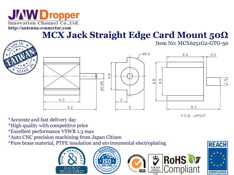 MCX Jack Female Straight Edge Card Mount Coaxial Connector 50 ohms