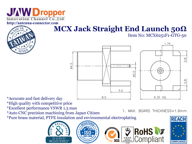 MCX Jack Female Straight End Launch Coaxial Connector 50 ohms