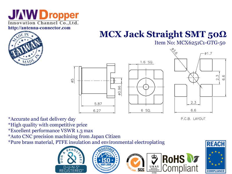 MCX Jack Female Straight SMT Coaxial Connector 50 ohms
