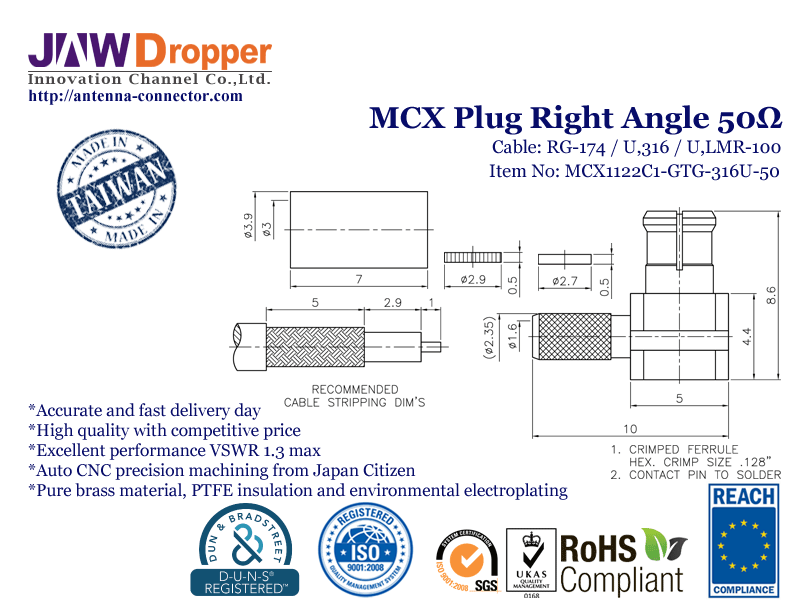 MCX Plug Male Right Angle Coaxial Connector 50 ohms for RG-174 / U,316 / U,LMR-100 Cable