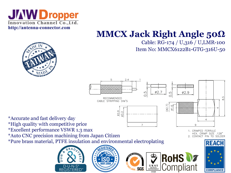 MMCX Jack Female Right Angle Coaxial Connector 50 ohms for RG-174 / U,316 / U,LMR-100 Cable