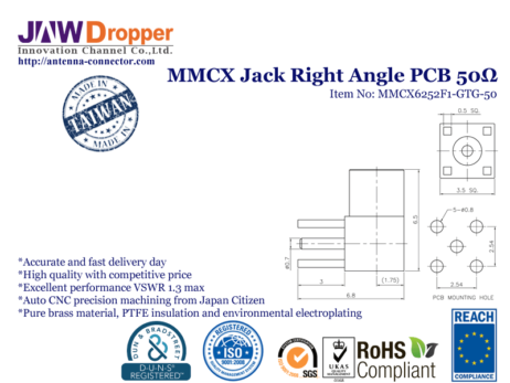 MMCX Jack Female Right Angle PCB Coaxial Connector 50 ohms