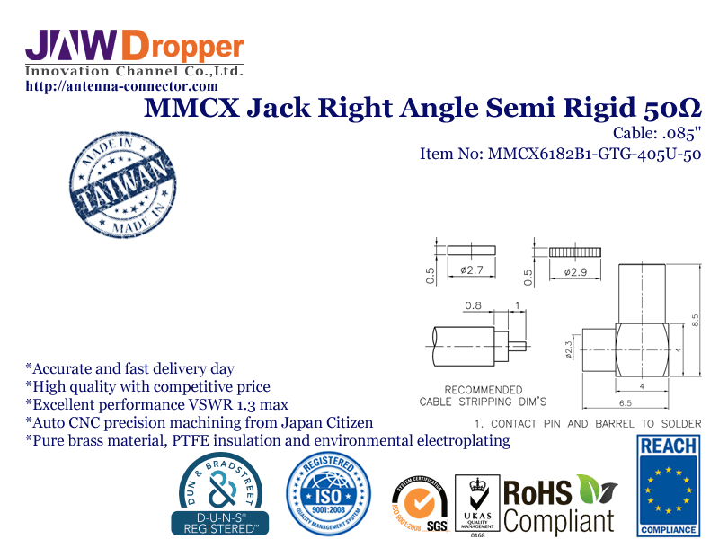 MMCX Jack Female Right Angle Semi Rigid Coaxial Connector 50 ohms for .085 Cable