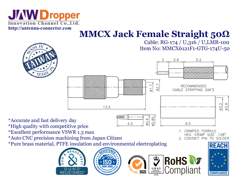 MMCX Jack Female Straight Coaxial Connector 50 ohms for RG-174 / U,316 / U,LMR-100 Cable