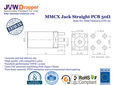 MMCX Jack Female Straight PCB Coaxial Connector 50 ohms