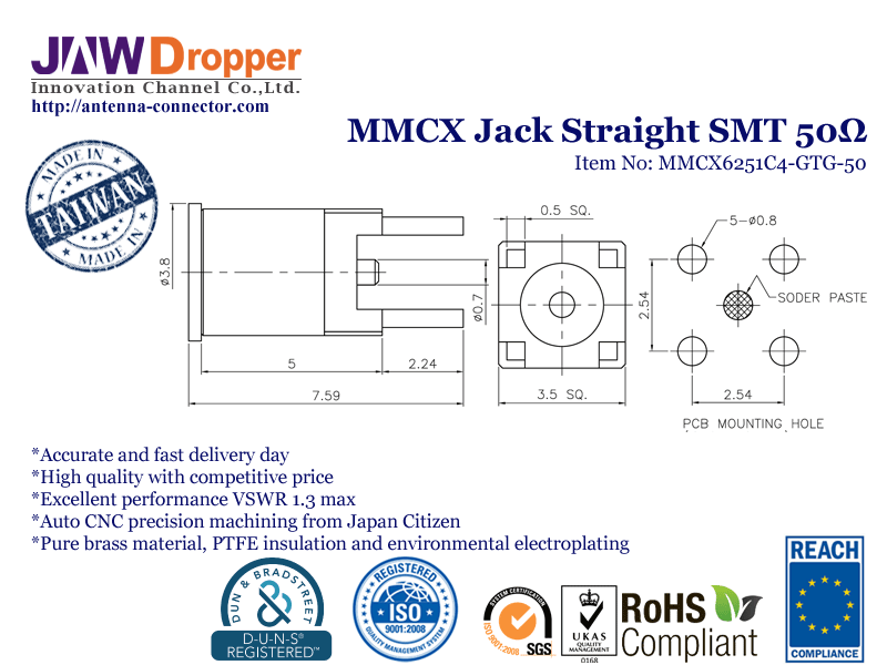 MMCX Jack Female Straight SMT Coaxial Connector 50 ohms