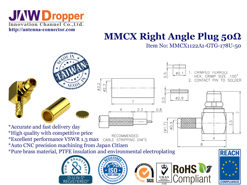MMCX Plug Male Right Angle Coaxial Connector 50 ohms for RG-178U Cable