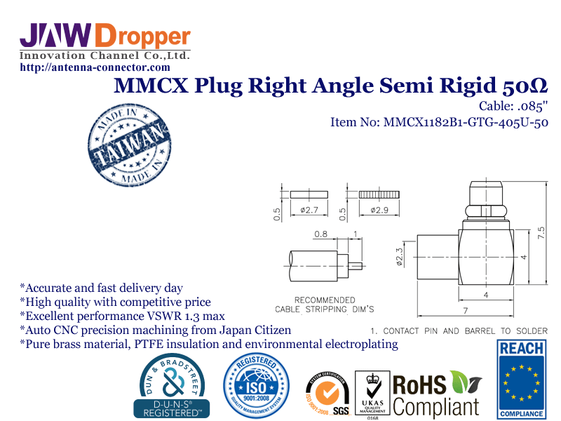 MMCX Plug Male Right Angle Semi Rigid Coaxial Connector 50 ohms for .085 Cable