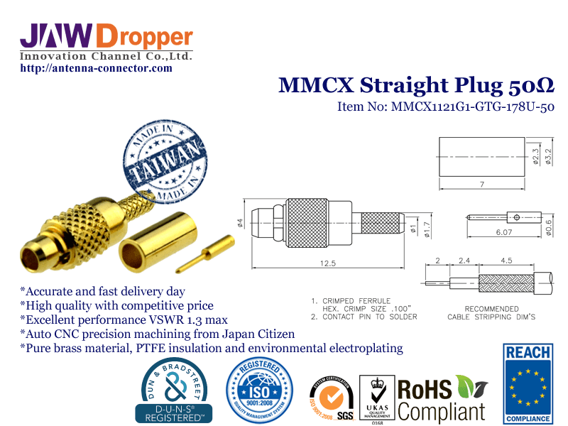 MMCX Plug Male Straight Coaxial Connector 50 ohms for RG-178U Cable