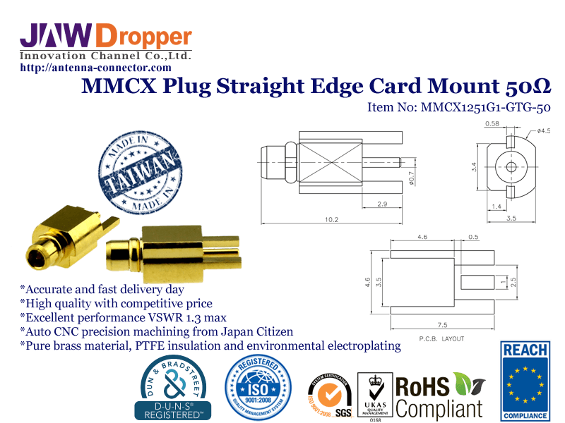 MMCX Plug Male Straight Edge Card Mount Coaxial Connector 50 ohms MMCX1251G1-GTG-50