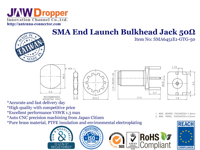 SMA Jack Female End Launch Bulkhead Coaxial Connector 50 ohms SMA6451E1 GTG 50