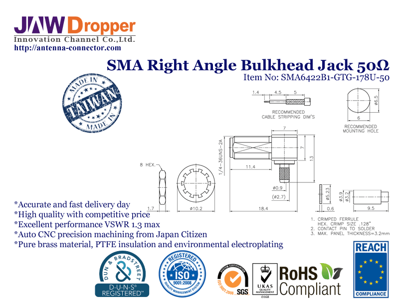 SMA Jack Female Right Angle Bulkhead Coaxial Connector 50 ohms for 178U Cable