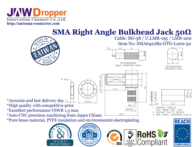SMA Jack Female Right Angle Bulkhead Coaxial Connector 50 ohms for RG-58 / U,LMR-195 / U,LMR-200 Cable