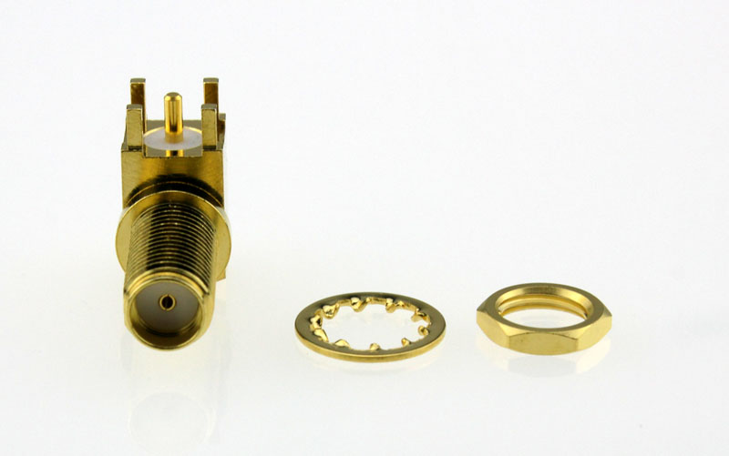 SMA Jack Female Right Angle Bulkhead PCB Coaxial Connector 50 ohms SMA6452A1 GTG 50 Below