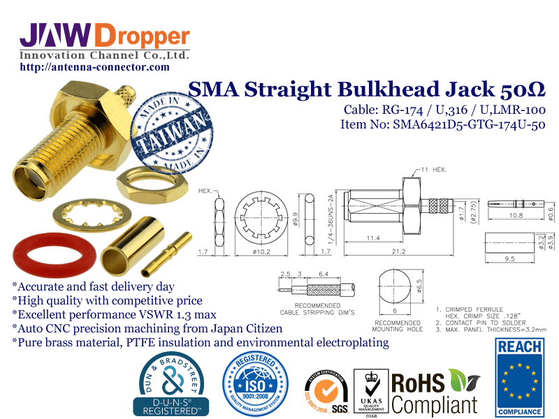 SMA Jack Female Straight Bulkhead Coaxial Connector 50 ohms SMA6421D5 GTG 174U 50