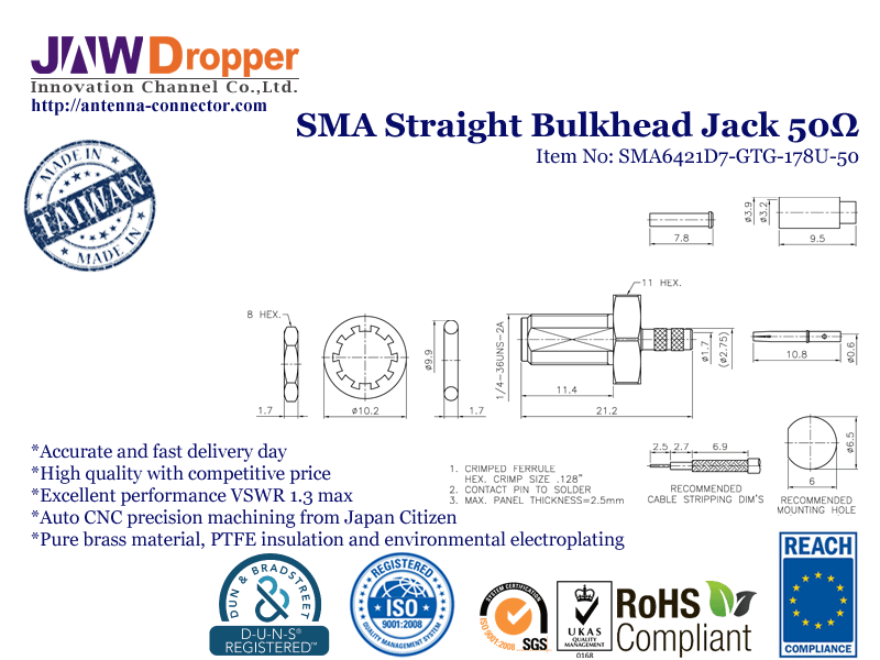 SMA Jack Female Straight Bulkhead Coaxial Connector 50 ohms SMA6421D7 GTG 178U 50