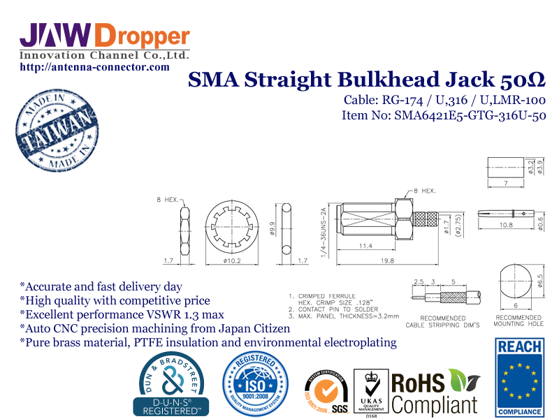 SMA Jack Female Straight Bulkhead Coaxial Connector 50 ohms for RG-174 / U,316 / U,LMR-100 Cable