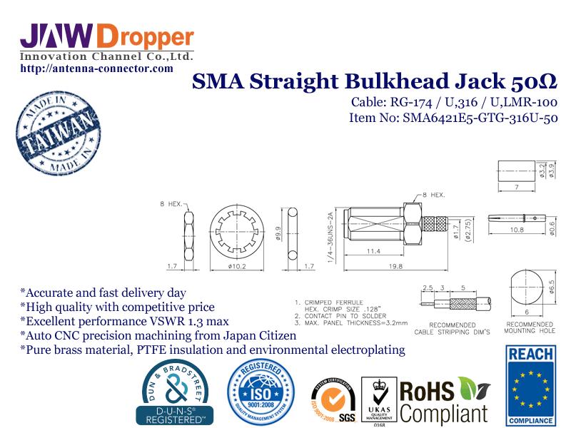 SMA Jack Female Straight Bulkhead Coaxial Connector 50 ohms SMA6421E5 GTG 316U 50