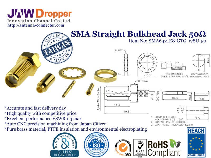 SMA Jack Female Straight Bulkhead Coaxial Connector 50 ohms for 178U Cable