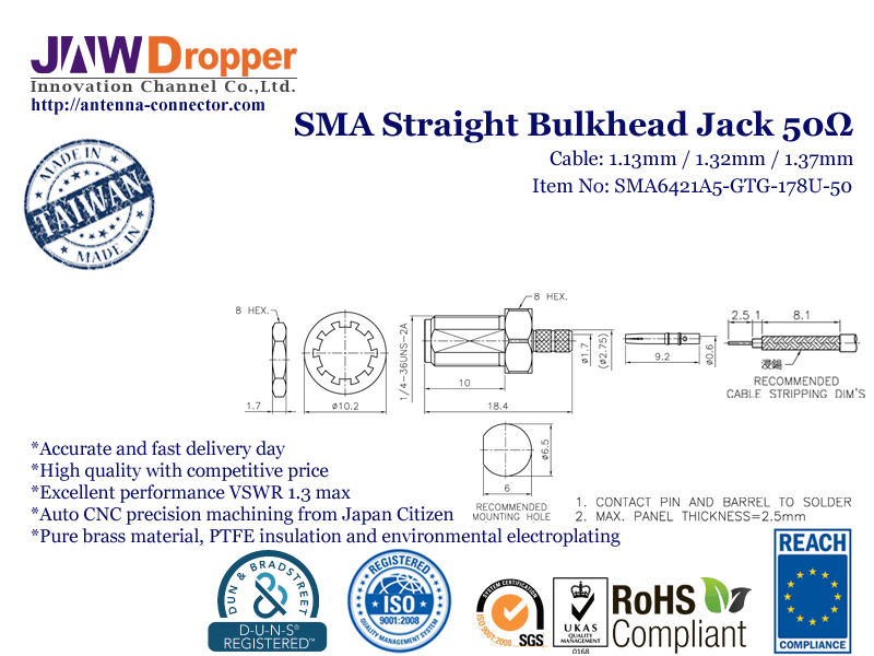 SMA Jack Female Straight Bulkhead Coaxial Connector 50 ohms for 1.13mm 1.32mm 1.37mm Cable SMA6421A5 GTG 178U 50