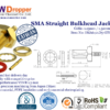 SMA Jack Female Straight Bulkhead Coaxial Connector 50 ohms for 1.13mm / 1.32mm / 1.37mm Cable