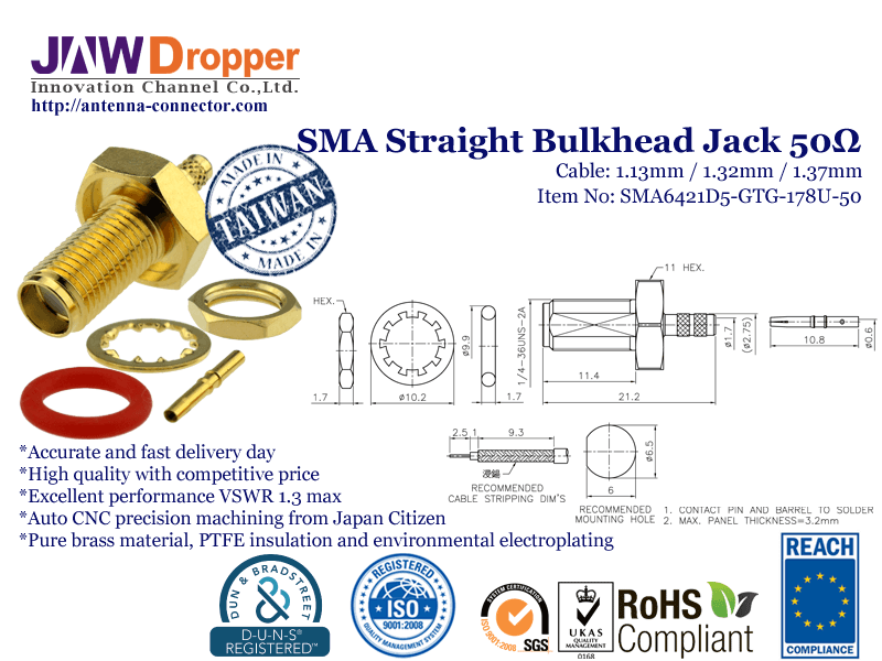 SMA Jack Female Straight Bulkhead Coaxial Connector 50 ohms for 1.13mm / 1.32mm / 1.37mm Cable-SMA6421D5-GTG-178U-50