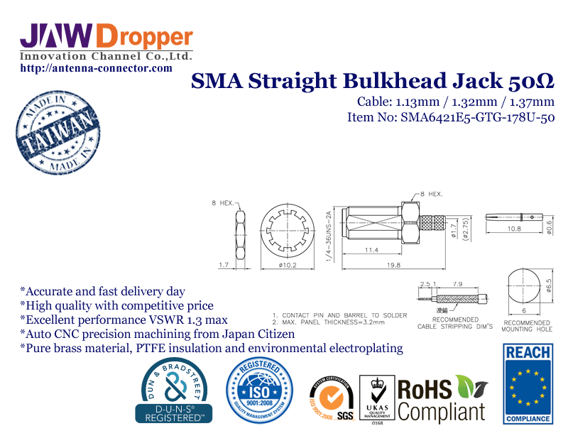 SMA Jack Female Straight Bulkhead Coaxial Connector 50 ohms for 1.13mm / 1.32mm / 1.37mm Cable-SMA6421E5-GTG-178U-50