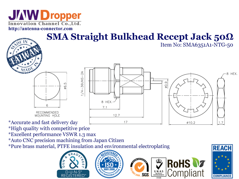 SMA Jack Female Straight Bulkhead Receptacle Coaxial Connector 50 ohms