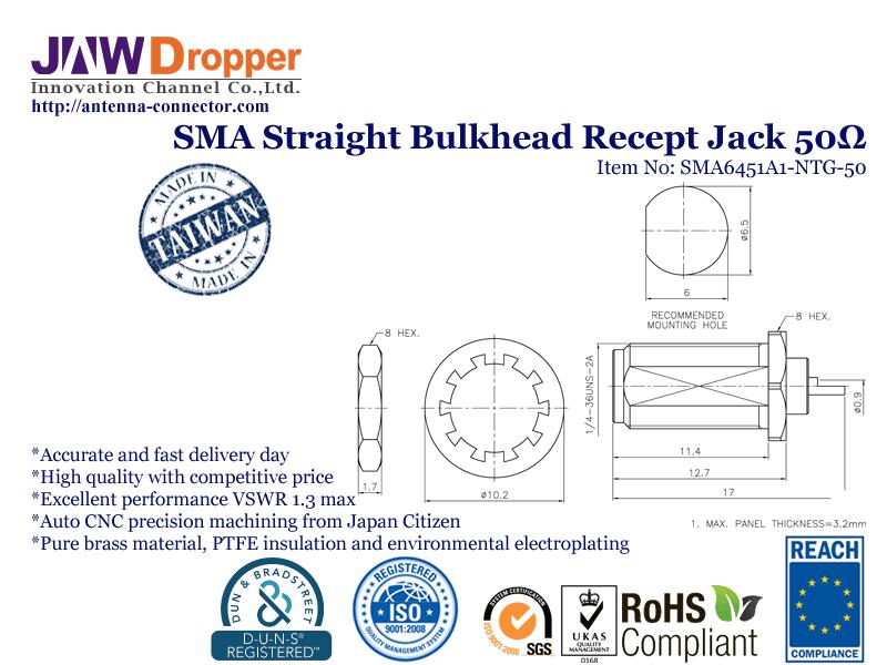 SMA Jack Female Straight Bulkhead Receptacle Coaxial Connector 50 ohms