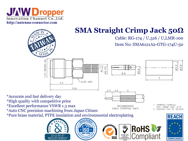 SMA Jack Female Straight Crimp Coaxial Connector 50 ohms for RG-174 / U,316 / U,LMR-100 Cable