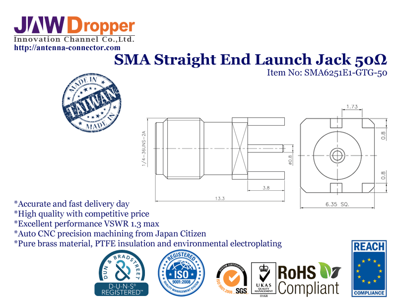 SMA Jack Female Straight End Launch Coaxial Connector 50 ohms SMA6251E1 GTG 50