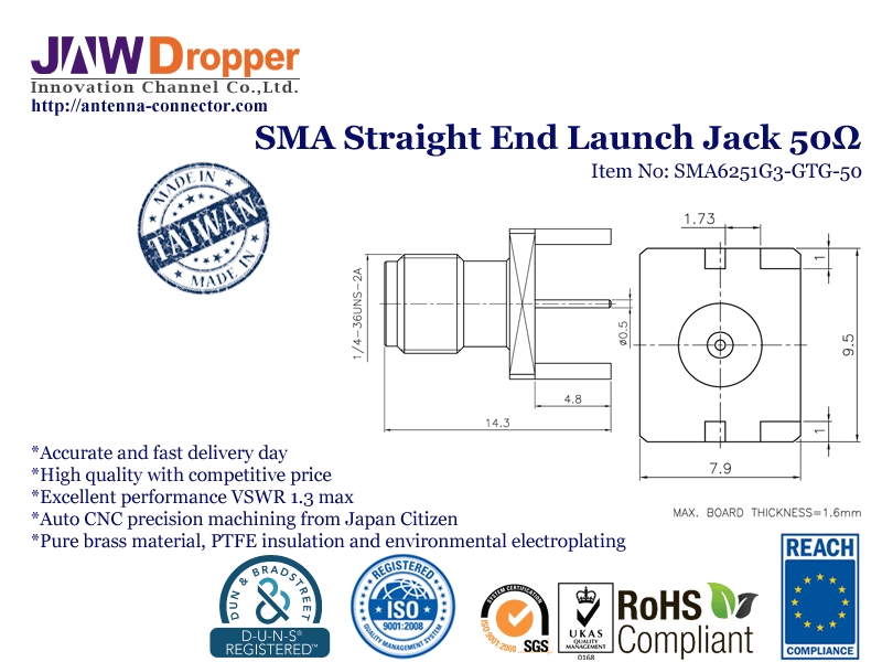 SMA Jack Female Straight End Launch Coaxial Connector 50 ohms SMA6251G3 GTG 50