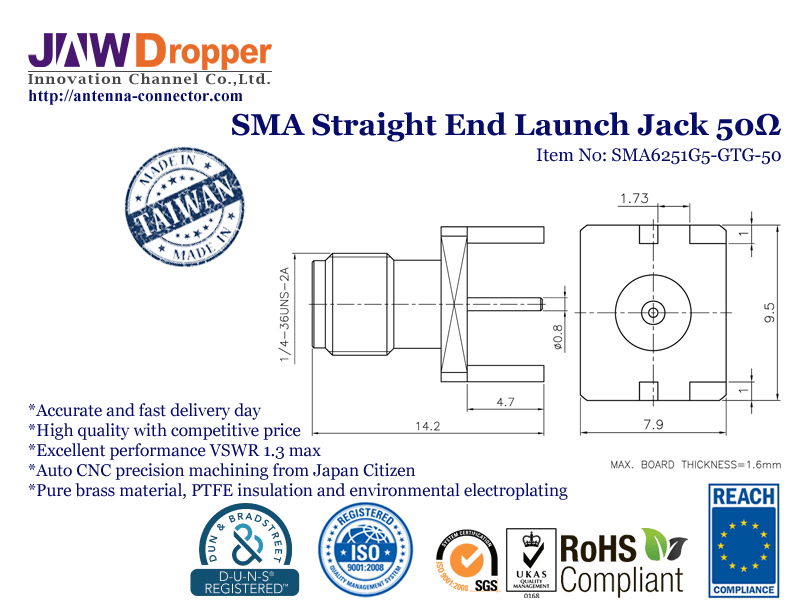 SMA Jack Female Straight End Launch Coaxial Connector 50 ohms SMA6251G5 GTG 50