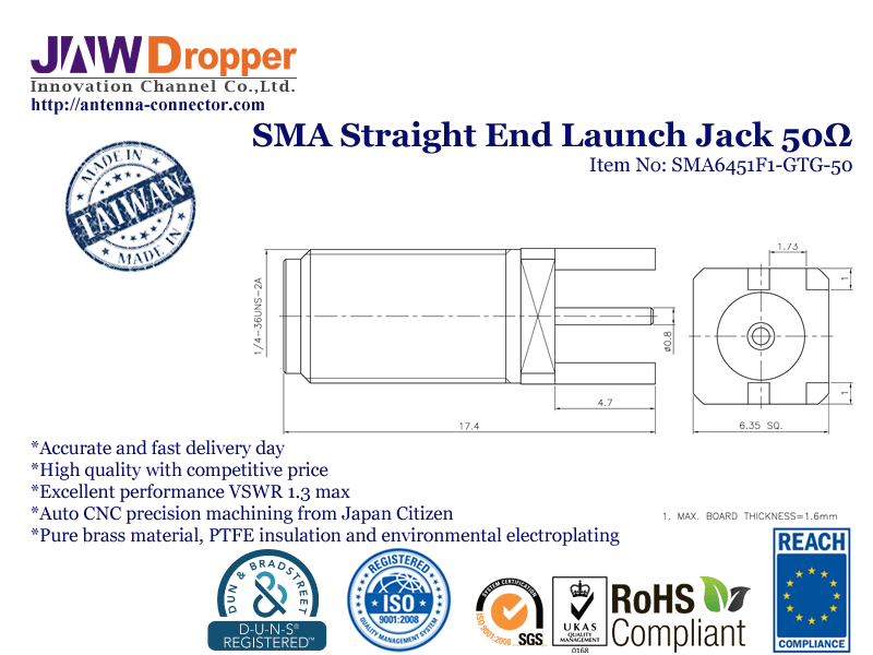 SMA Jack Female Straight End Launch Coaxial Connector 50 ohms SMA6451F1 GTG 50