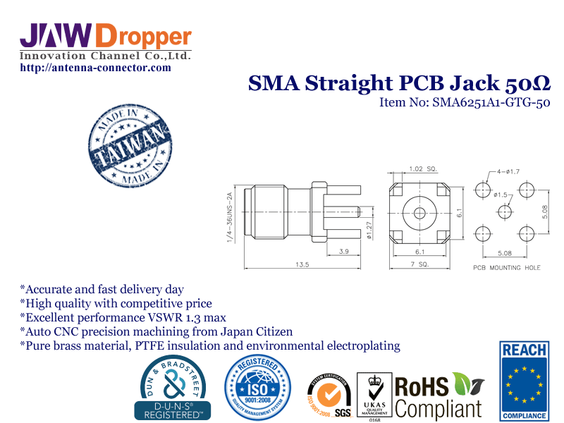 SMA Jack Female Straight PCB Coaxial Connector 50 ohms SMA6251A1 GTG 50