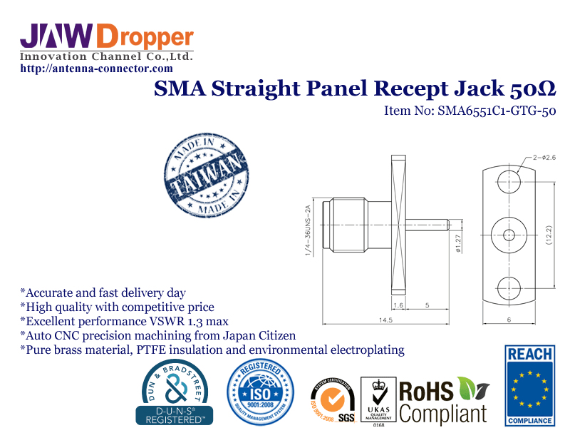 SMA Jack Female Straight Panel Receptacle Coaxial Connector 50 ohms SMA6551C1 GTG 50
