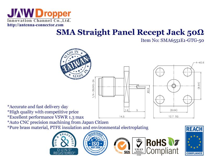 SMA Jack Female Straight Panel Receptacle Coaxial Connector 50 ohms SMA6551E1 GTG 50