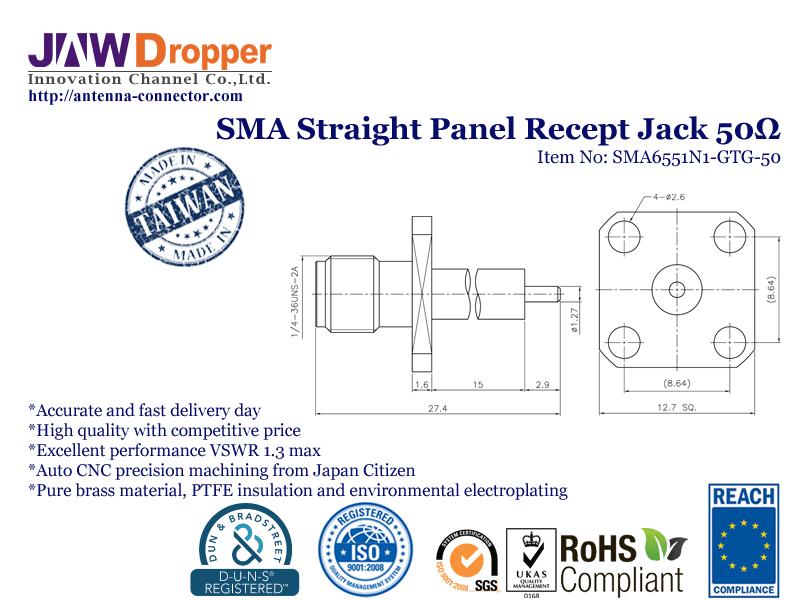 SMA Jack Female Straight Panel Receptacle Coaxial Connector 50 ohms SMA6551N1 GTG 50