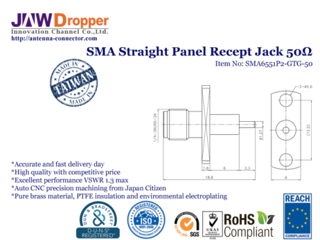 SMA Jack Female Straight Panel Receptacle Coaxial Connector 50 ohms SMA6551P2 GTG 50