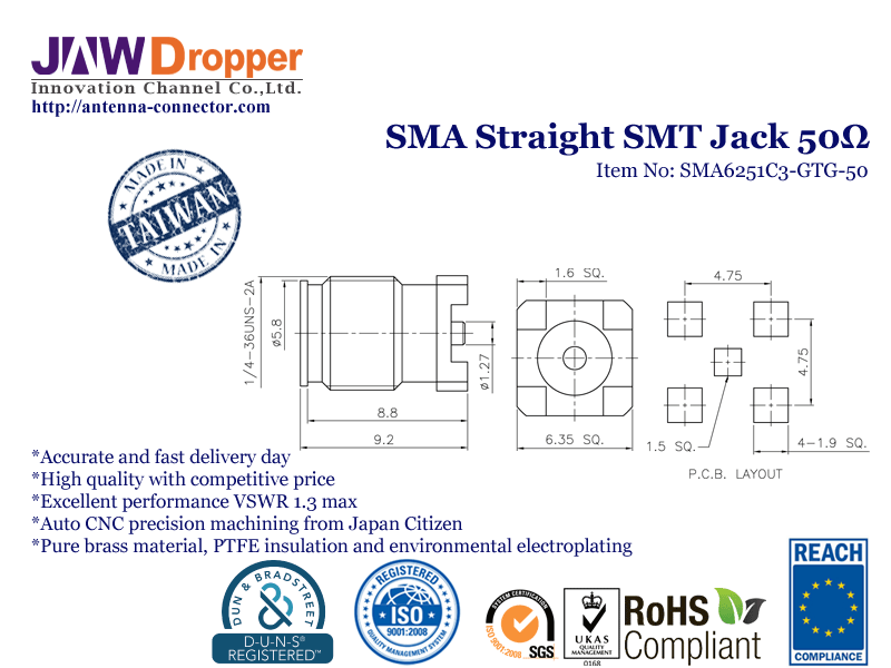 SMA Jack Female Straight SMT Coaxial Connector 50 ohms SMA6251C3 GTG 50