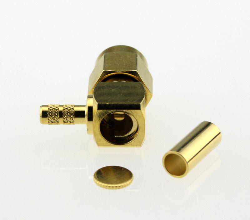 SMA Plug Male Right Angle Coaxial Connector 50 ohms SMA1122B1 GTG 316U 50 Back