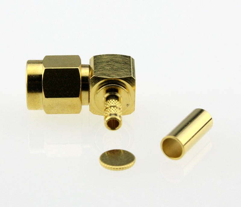 SMA Plug Male Right Angle Coaxial Connector 50 ohms SMA1122B1 GTG 316U 50 Below