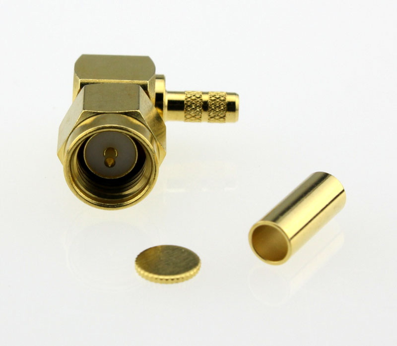SMA Plug Male Right Angle Coaxial Connector 50 ohms SMA1122B1 GTG 316U 50 Front