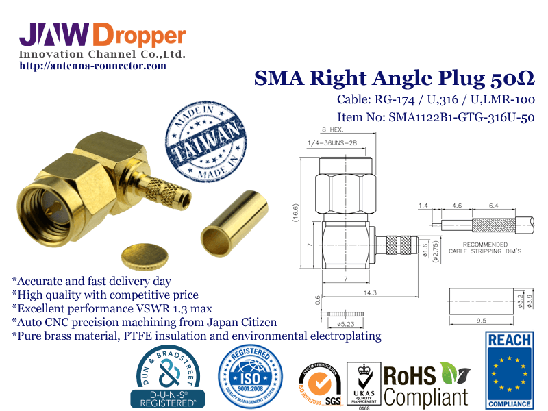 SMA Plug Male Right Angle Coaxial Connector 50 ohms For RG-174 / U,316 / U,LMR-100 Cable