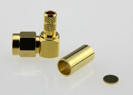 SMA Plug Male Right Angle Coaxial Connector 50 ohms SMA1122B2 GTG L200 50 Side