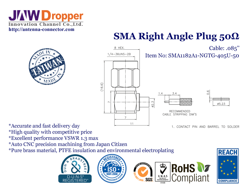 SMA Plug Male Right Angle Coaxial Connector 50 ohms SMA1182A1 NGTG 405U 50